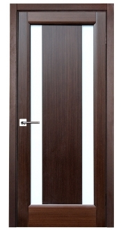 Stella Wenge Finish Contemporary Interior Door w/Frosted Glass