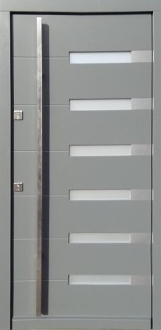 Model 014 Modern Wood Exterior Door Grey Finish w/Frosted Glass