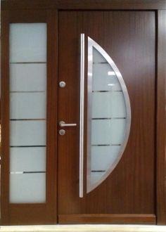 Model 011 W 59 X H 84 Modern Wood Exterior Door With Sidelight