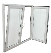 "W 96"" x H 36""    PVC Double Section Tilt and Turn Window"