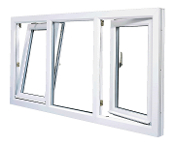 "W 96"" x H 36""    PVC Triple Section Tilt and Turn Window"