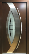 Model 089 Modern Walnut Finish Exterior Door w/Frosted Glass