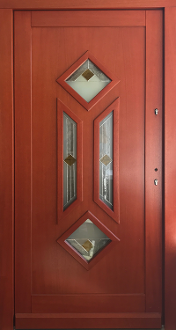 & Model 101 Modern Meranti Wood Front Entry Door Cherry Finish
