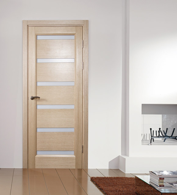 & Tokio Bleached Oak Finish Modern Interior Door w/Frosted Glass