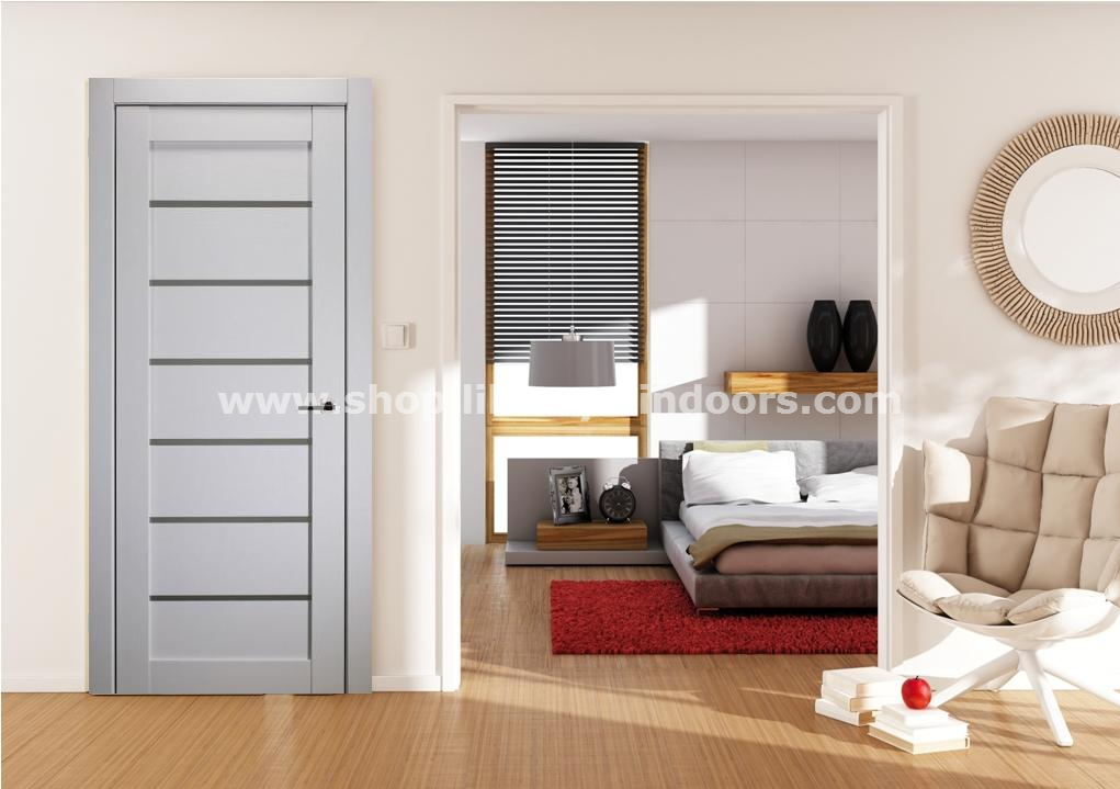 Sorrento Satin White Modern Interior Door W Frosted Glass