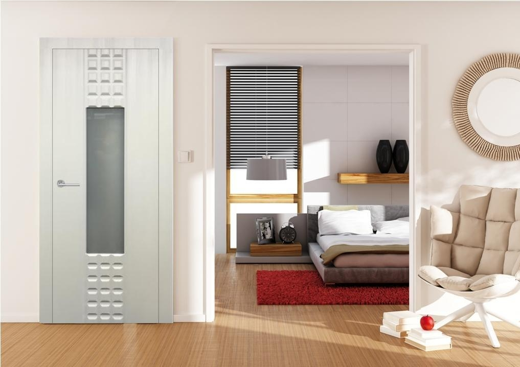 Prima Glass Satin White Finish Transitional Style Interior Door